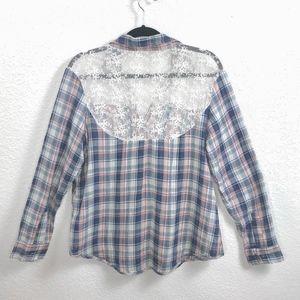 Paper Crane Tops - Nordstrom Paper Crane Plaid Shirt w/ Lace Sz Lg